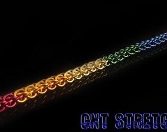 Chainmail Bracelet Anodized Aluminum Rainbow Forars Kaede weave