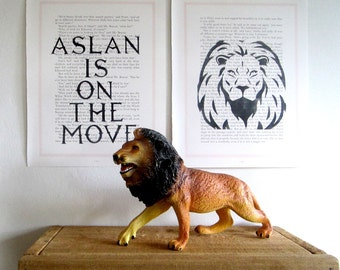 Narnia Prints, Aslan is on the Move, Double Print Set, Print Set, Child's Bedroom Decor,Narnia Theme, Aslan, Lion, Narnia Quote, Aslan Quote
