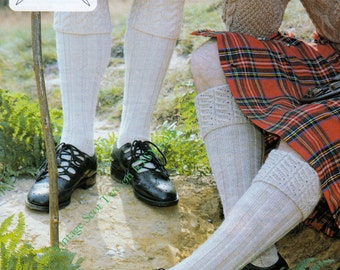 Authentic Scottish Mens Kilt Hose / Socks 2 styles in DK 8 ply Light Worsted yarn - PDF of Vintage Mens Knitting Patterns Instant Download