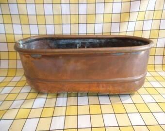Charming Vintage Copper Planter / Trough For Windowsil etc.