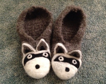 Felted raccoon slippers