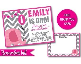 Elephant First Birthday Invitation - Printable 1st Birthday Party Invite - First Birthday Girl Ideas - First Birthday Boy - Elephant Theme