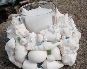Beach Decor - Wedding - Shell Wreath With Candle (CW029)