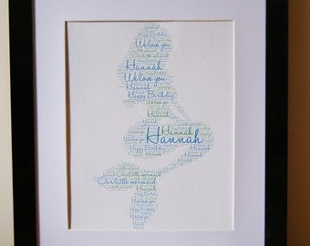 Personalised Word Art Print mermaid daughter birthday gift Frame