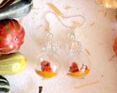 Thanksgiving earring glass ball fashion jewelry turkey pumpkin miniature