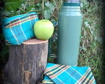 Plaid Reusable Lunch Set, Waste Free Lunch Kit, Reusable Sandwich Wrap and Snack Bag, Washable Sandwich Bags
