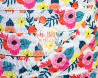 "Summer Fleur 5/8"" Fold Over Elastic 1, 3 or 5 yards"