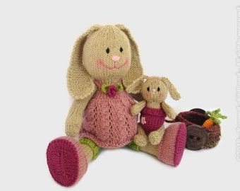 Pregnant doll bunny rabbit, stuffed bunny toy, knit bunny plush, toy gift for girls, family toy mom & baby bunny with baby carriage ready