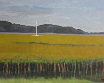 Marsh with Yellow Grass // 30 x 40 // original oil painting // mustard