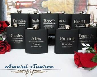 Set of 2 Groomsman Flask Set // 6 oz Flask // Black Flask // Groomsmen Gift Set // Bridesmaid Gift
