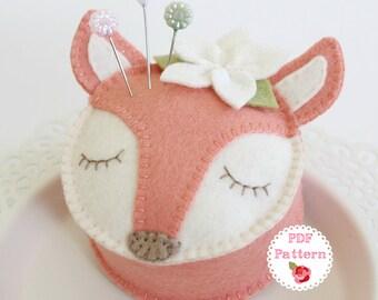 FELT FOX PDF Pin Cushion Pattern - 'Fifi Fox' pincushion, wool felt, softie, pillow, embroidery, sewing