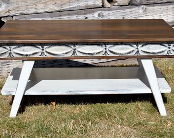 Coffee Table Vintage Retro Antique Ceiling Tin Salvaged Rustic Shabby Chic Decor