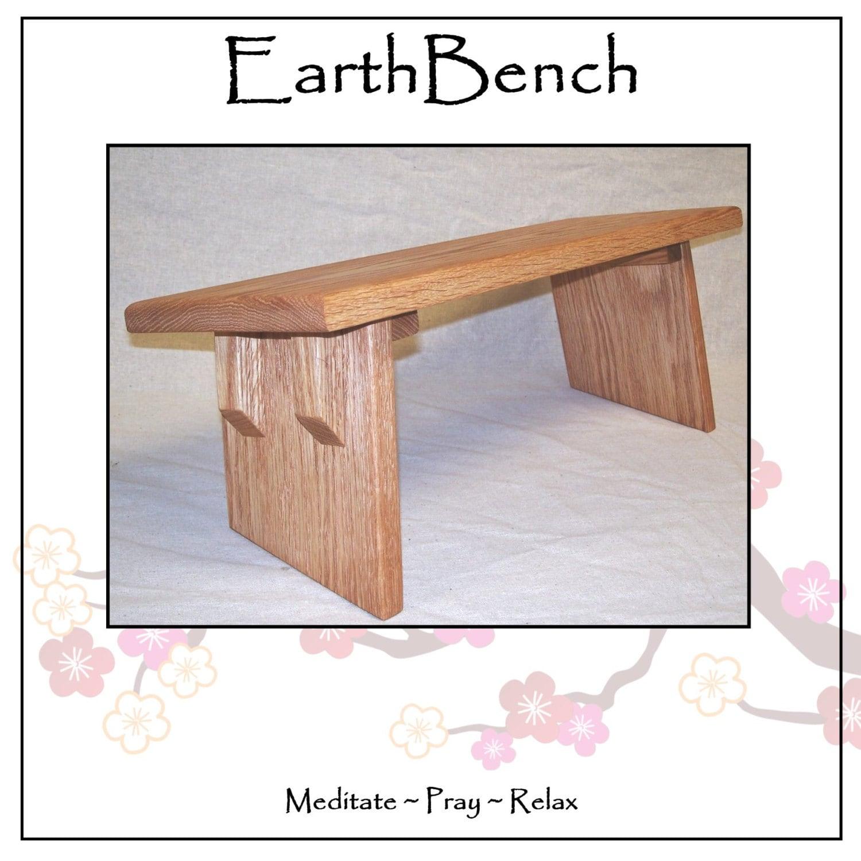 Oak Meditation Bench W Solid Fixed Legs Red Oak W