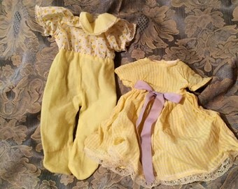 Vintage 1950s Baby Doll Clothes - Dress And All In One