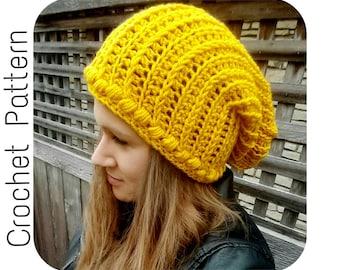 Crochet PATTERN   Aspen Slouch Beanie Crochet Pattern   Chunky Slouch Hat Easy Crochet Pattern   Bulky Textured Beanie Crochet Pattern
