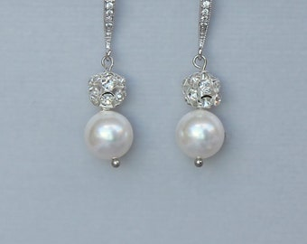 Pearl and Pave Crystal Bridal Earrings, Pearl and Crystal Drop Earrings, Wedding Jewelr, Bridal accessories