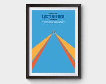 Back to the future - delorean A3 movie poster, film poster, minimal, 88 mph, time machine, delorean, clock tower, bttf trilogy, film poster