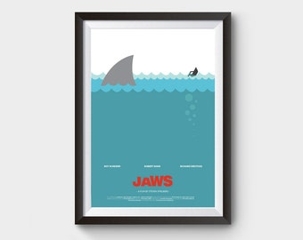 "JAWS - movie poster: 12x16"" art, print, illustration, shark, fish, boat print, sea poster, blue, jaws poster, film poster, minimalist print"