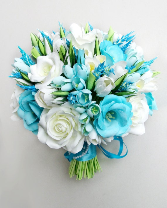 Sky Blue Wedding Bouquet Aqua Blue Bouquet Aqua By