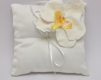 White Orchid Wedding Ring Pillow - Wedding ring bearer - Ring pillow bearer - Wedding pillow - Ring pillow