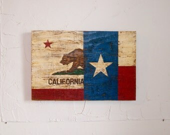 Half California Half Texas Flag Wood Sign - outdoor flag - wood flag - Texan flag - Californian flag - Cali sign - Texas sign - Cali flag