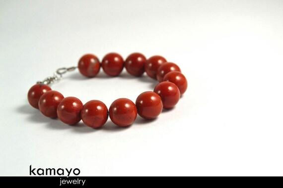 "RED JASPER BRACELET- Round Red Jasper Beads - Fits Wrist of Up to 6.2"""