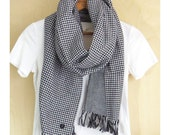 "All season Cotton scarf, Japanese double gauze reversible stole - black and white fine gingham check / foggy black  - 14"" wide Unisex scarf"