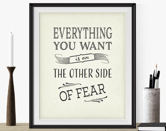 "Motivational Print Typography Art ""Everything You Want.."" Inspirational Quote Art Print- Antique White- Wall Art- Gift Idea For Student"