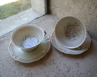 """French """"petit déjeuner"""" set from Limoges factory , French coffee , tea  set , 2 larges  cups and 2 saucers"""