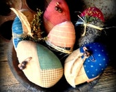 Set of 6 Primitive Folk Art Quilted Easter Egg Bowl Fillers-Easter-Spring-hafair team, faap