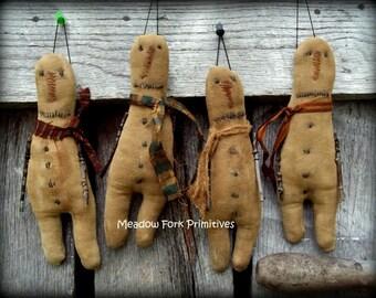 Made To order--Primitive Handcrafted Stick Arm Snowman Ornies--Folk Art--Winter-Christmas--Christmas Decor, Home Decor, Hafair team, FAAP