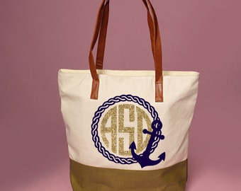 Anchor and Rope with Initials - Black & White Tote