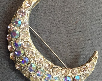Vintage Crescent Brooch with Aurora Borealis Stones-Free shipping