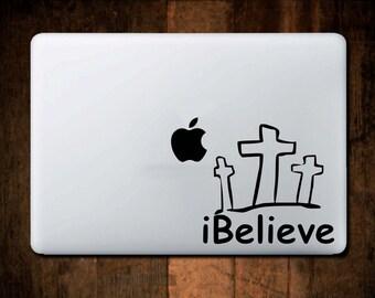 Christian Decal,iBelieve Decal, Vinyl Macbook decal, laptop decal, window decal, Christain, Car Decal, Jesus,Bible