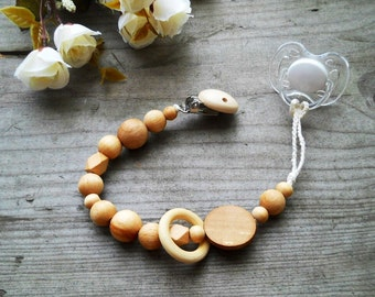 pacifier clip natural eco friendly speenkoord wood teething toy ring teether Handmade Paci Clip wooden pacifier clip dummy  pacifier chain