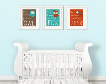 WOODLAND Nursery Prints - Woodland Nursery Decor - 3 files - Instant Download - jpeg files - Self Print - 8x10