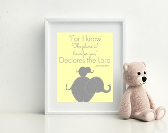 ELEPHANT NURSERY DECOR -  Jeremiah 29:11 - Bible Verse Print - Elephant Wall Art -  8x10 Unframed Print