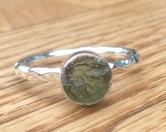 US 9, Raw Stone Ring, Raw Moldavite Ring, Silver Gemstone Ring, Rough Natural Gemstone, Rough Moldavite Ring, Natural Gemstone Ring