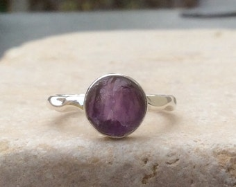 Rough Amethyst Silver Ring, US 6.75, Rough Natural Gemstone, Rough Amethyst Ring, Natural Amethyst Gemstone Silver Ring