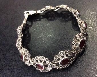 Silver marcasite and garnet bracelet