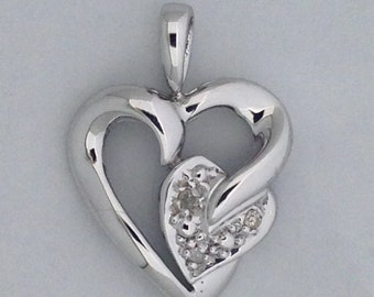 Heart Necklace Natural Diamond 925 Sterling Silver