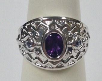 Natural Amethyst with Natural Tanzanite Ring 925 Silver