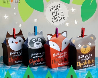Digital PRINTABLE 4 X Personalised WOODLAND ANIMALS Children's Birthday Party Favor Boxes Bags Raccoon Owl Fox Bear