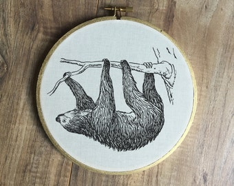 Sloth print, embroidery hoop, art print, print, sloth art