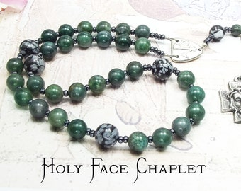 HOLY FACE CHAPLET or Chaplet of the Holy Face with Moss Green Agate and Snowflake Obsidian Beads and Medal of The Holy Face of Jesus