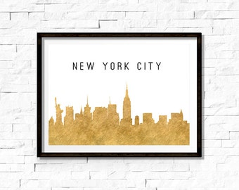 Printable Wall Art - New York City Skyline Silhouette, Gold - Instant Download