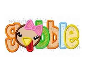 Thanksgiving gobble girl turkey applique machine embroidery design instant download