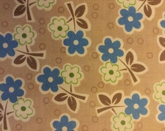 MILLIE'S CLOSET by Lori Holt - Fabric - Floral in Blue - Riley Blake Fabrics - Quilting - Sewing - Home Decor - Flowers -  Vintage Happy