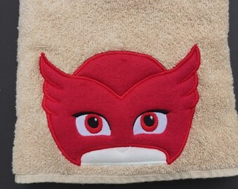 PJ  Mask  Inspired Hooded Towel.  Owlette or Catboy Bath towel, beach towel, Cover up, pool towel, play costume, personalized towel