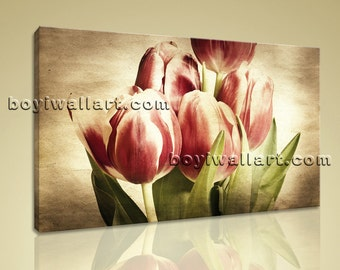 "Large Wall Art Print On Canvas Retro Artistic Tulip Flower Petals Blossom Aged, Tulip Flowers picture,  size art print, 36""x24"""